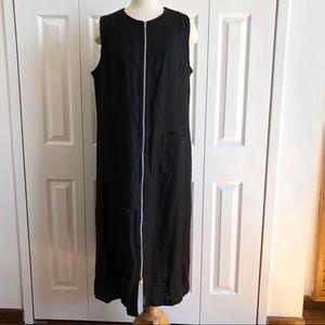 HARVE BENARD 2 Way Full Zip Linen Shift Maxi Dress